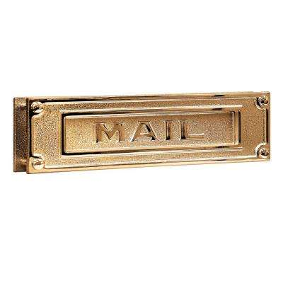 4000 Series 13.25 in. W x 3.5 in. H x 1.75 in. D Deluxe Solid Brass Mail Slot in Brass Finish