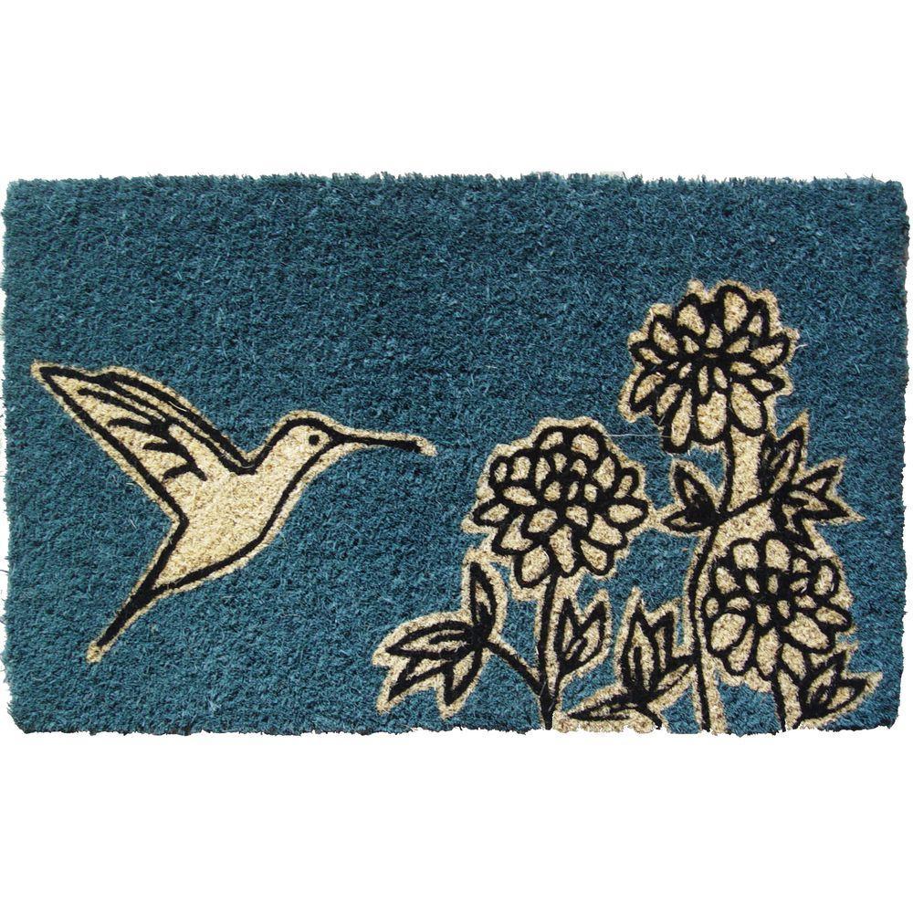 Flower and Hummingbird 18 in. x 30 in. Hand Woven Coconut Fiber Door Mat