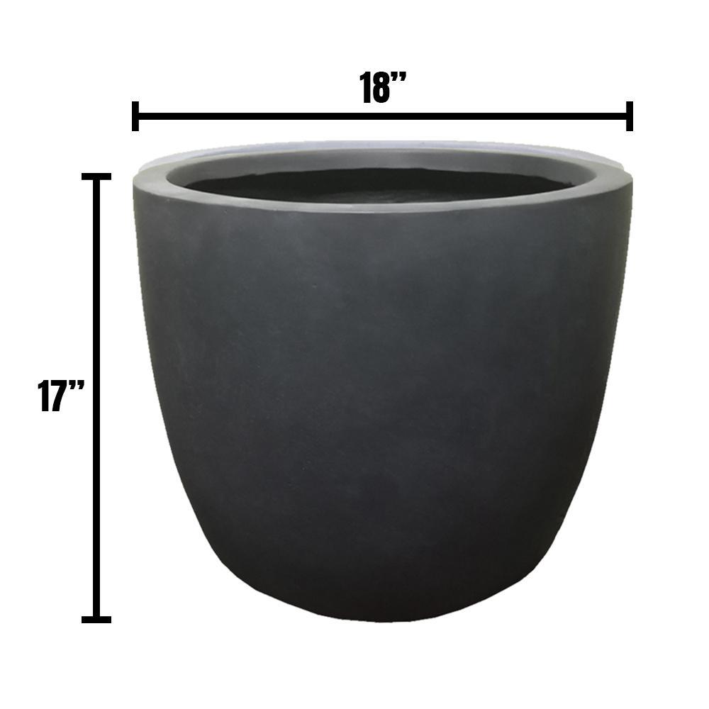 DurX-litecrete Large 17.7 in. x 17.7 in. x 16.9 in. Granite Color Lightweight Concrete Modern Seamless Round Planter