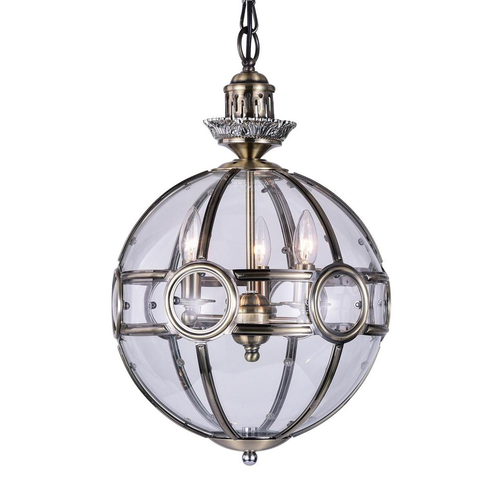 CWI Lighting Beas 3-Light Antique Brass Chandelier