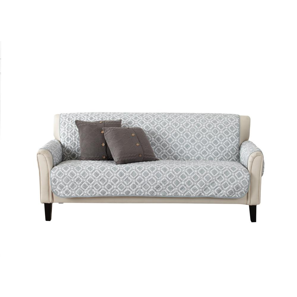 Great Bay Home Liliana Collection Strom Grey Printed Reversible Sofa Furniture Protector