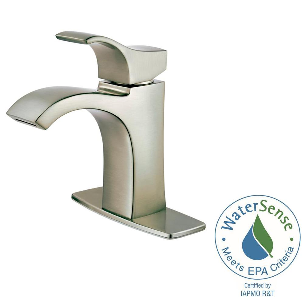 Centerset Single Handle Bathroom Faucet In Spot Defense Brushed Nickel