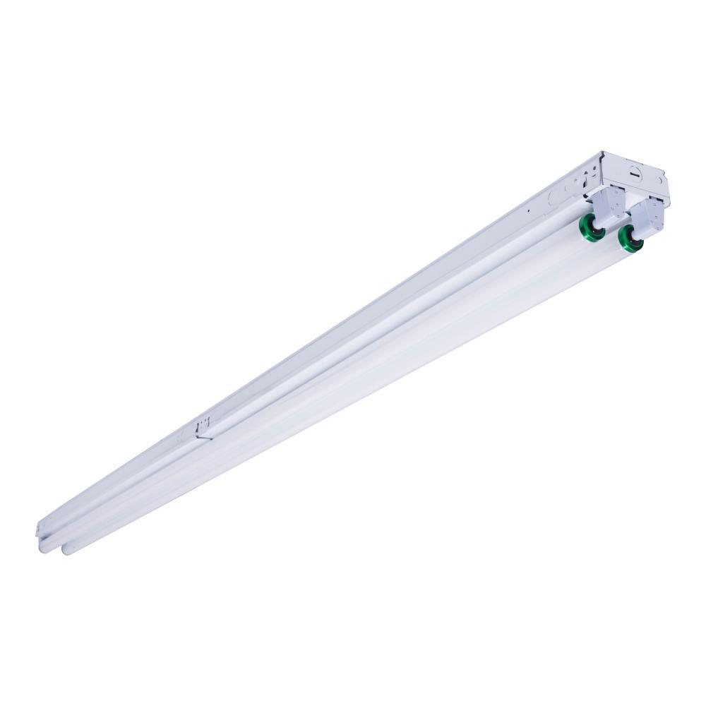2-Light 8 ft. White Fluorescent Strip Light with 2 T12 Light Sockets