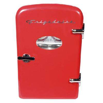 6 Can Mini Retro Mini Refrigerator in Red