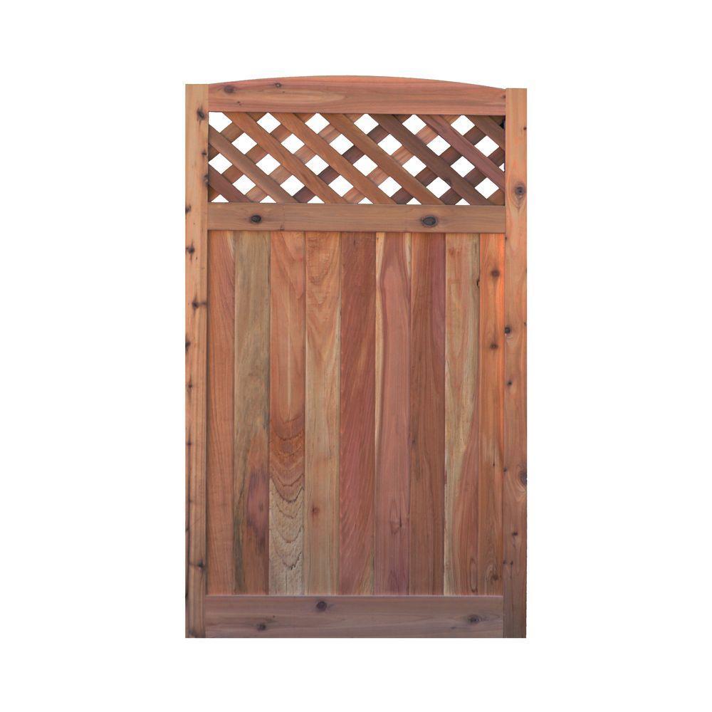 3.5 ft. H W x 6 ft. H H Western Red Cedar Arch Top Diagonal Lattice Fence Gate