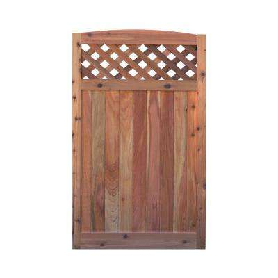 3.5 ft. H W x 6 ft. H H Western Red Cedar Arch Top Diagonal Lattice Fence Gate