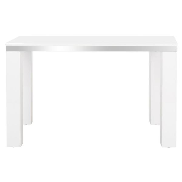 47 in. Rectangular White Writing Desk with Open Storage