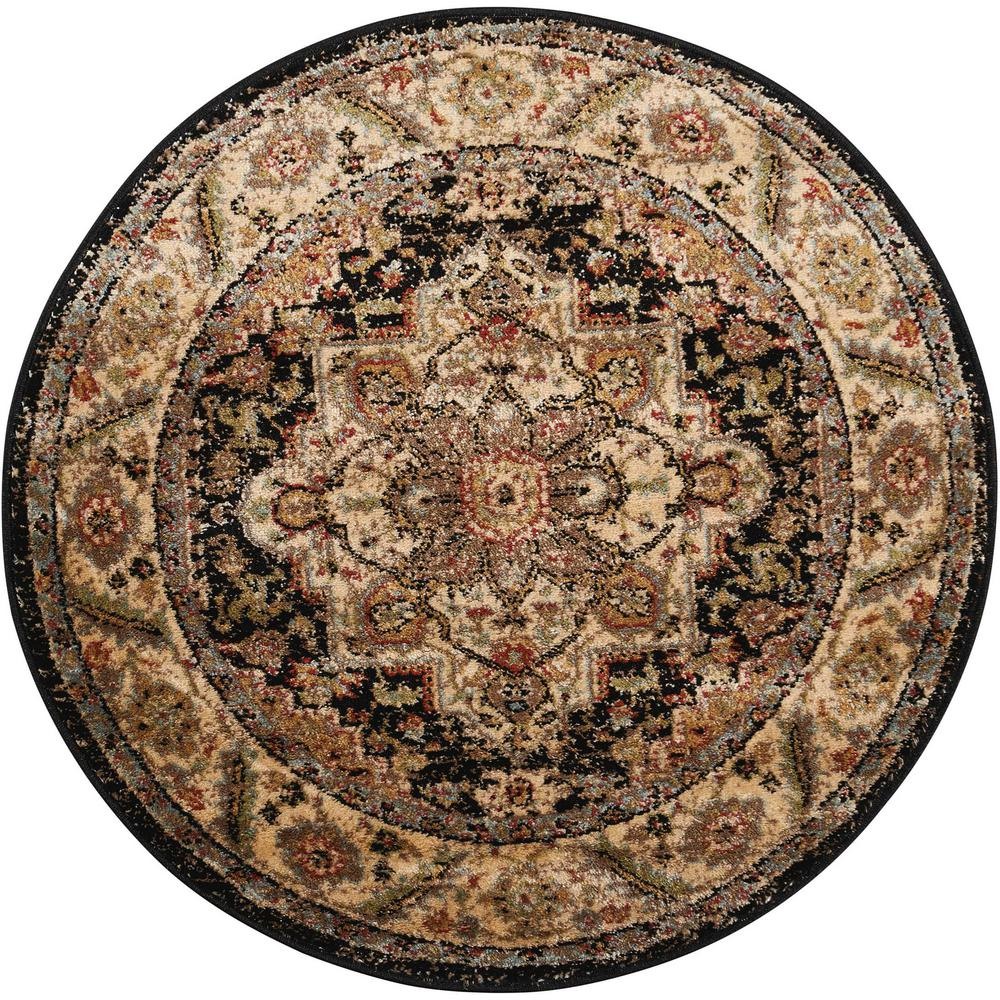 Nourison Delano Black 3 Ft Round Area Rug 371041 The