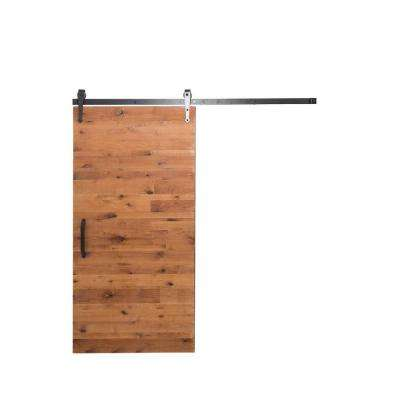 42 in. x 84 in. Rustica Reclaimed Clear Wood Barn Door with Arrow Sliding Door Hardware Kit
