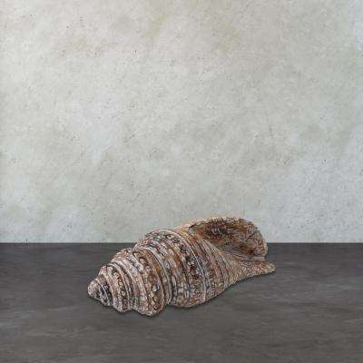 9 in. x 22 in. Burnt White Wash Wooden Decorative Conch Shell Figurine