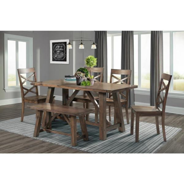 Regan 6-Piece Dining Table Set with 4 Side Chairs and Bench