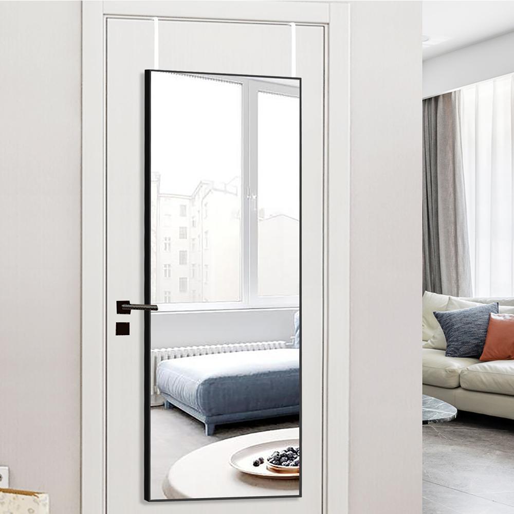 44 in. x 16 in. Modern Style Rectangle Mirror Metal Framed Black Door Mirror Full Length Wall Mirror