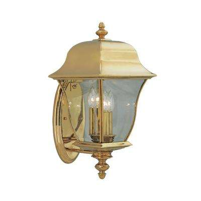 oak harbor 3light polished brass outdoor wallmount lantern