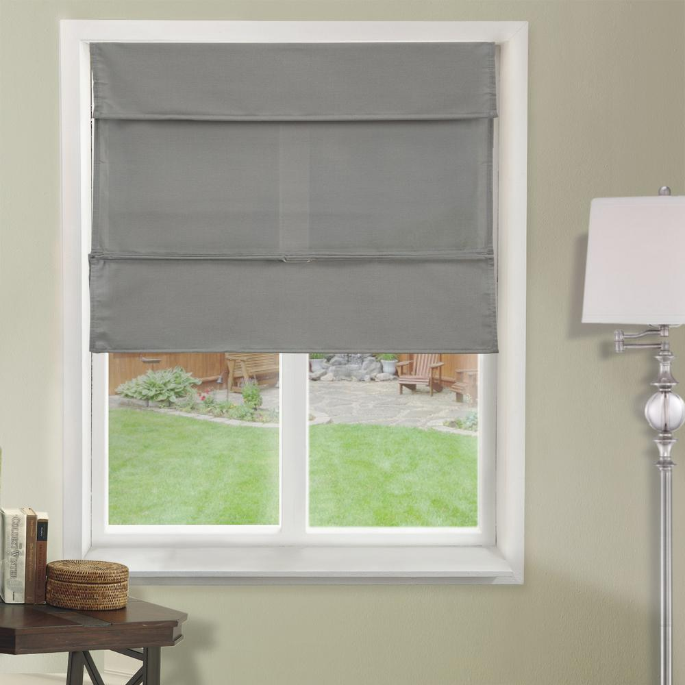 Chicology Daily Grey  Cordless Light Filtering UV Protection Polyester Roman Shades 35 in. W x 64 in. L