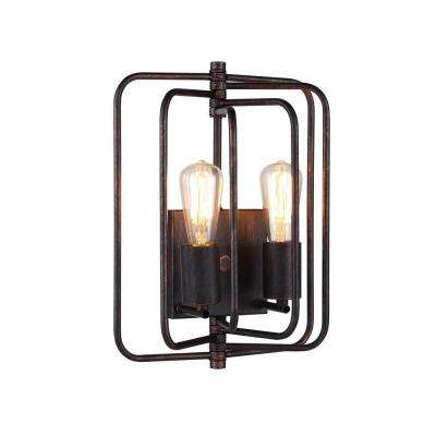 Lewis 2-Light Dark Bronze Wall Sconce