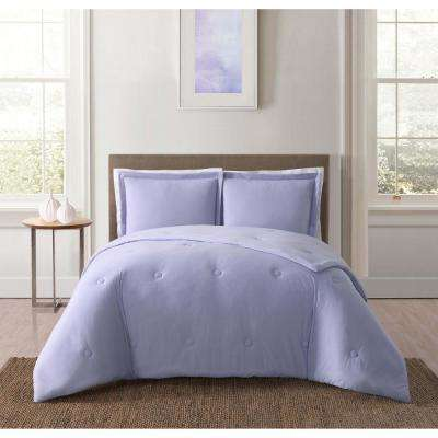 Everyday Solid Jersey Lavender Full/Queen Comforter Set with 2-Shams