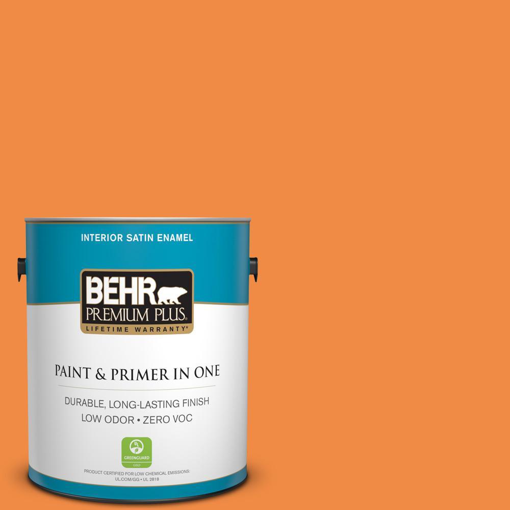 BEHR Premium Plus 1-gal. #250B-6 Poppy Glow Zero VOC Satin Enamel Interior Paint