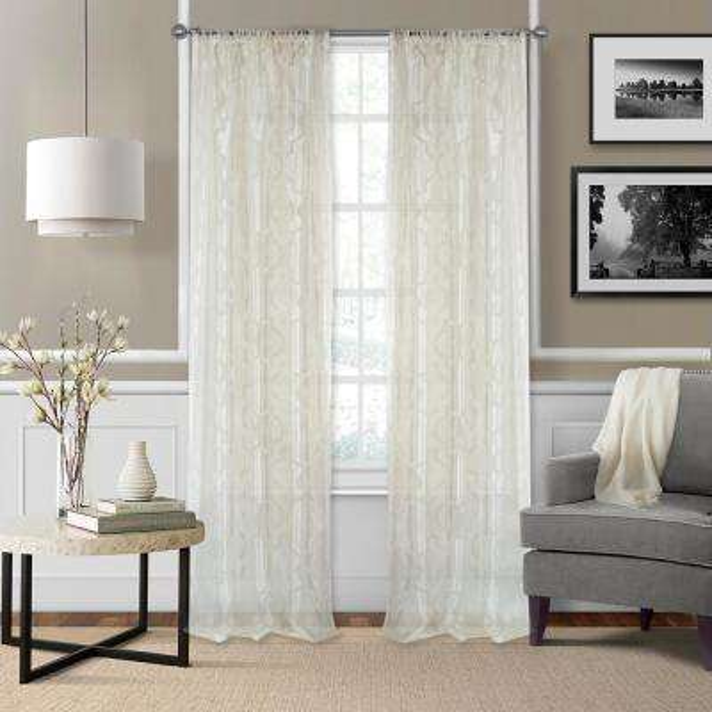 Montego Burnout Trellis Sheer Window Curtain