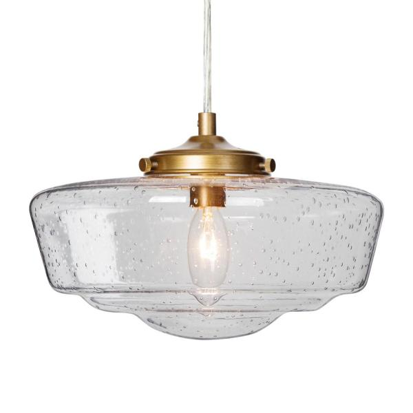 9.5 in. 1-Light Warm Brass Farmhouse Seeded Glass Shade Transitional Pendant Light