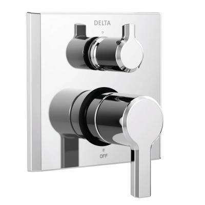 Pivotal 2-Handle Wall-Mount 3-Setting Integrated Diverter Trim Kit in Chrome (Valve Not Included)