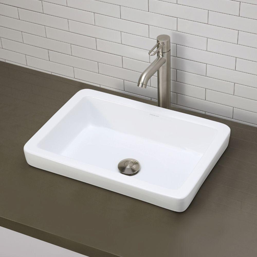 Decolav Clically Redefined Semi Recessed Rectangular Bathroom Sink In White