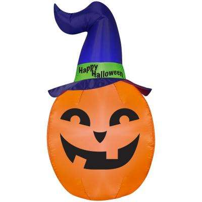 4.99 ft. Pre-Lit Inflatable Pumpkin with Witch Hat Airblown