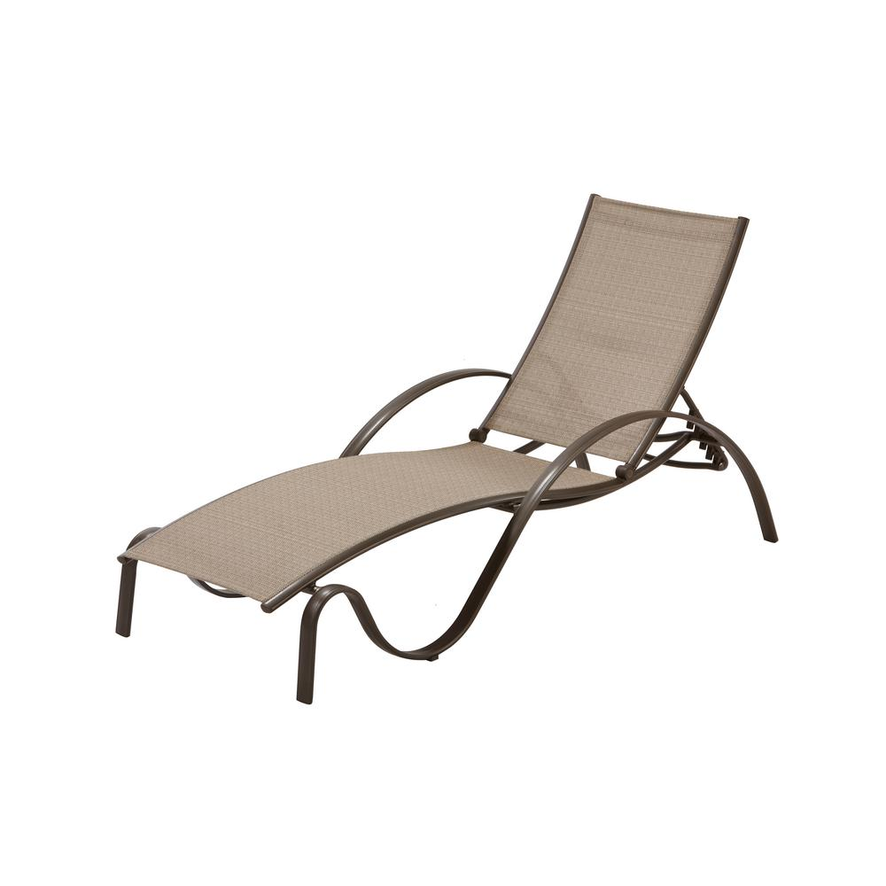 Hampton bay commercial grade aluminum brown outdoor chaise for Aluminum outdoor chaise lounge