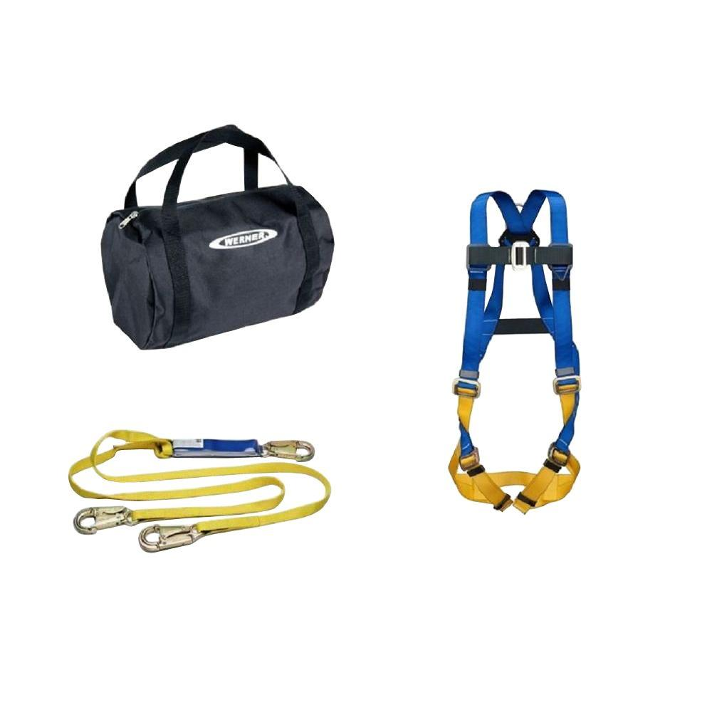 WERNER UpGear Aerial Kit with BaseWear Std Harness and 6 ft. DeCoil Dual Leg Lanyard