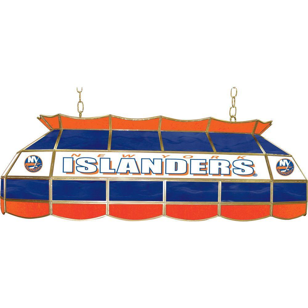Trademark NHL New York Islanders 3-Light Stained Glass Tiffany Lamp