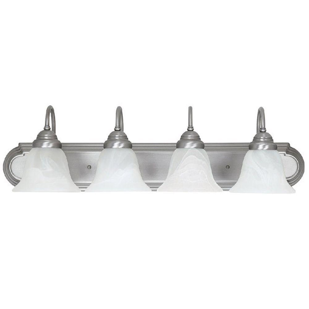Filament Design 4-Light Matte Nickel Vanity Light with Faux White Alabaster Glass