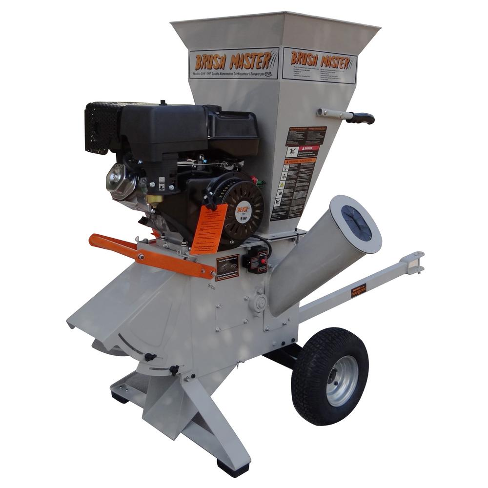 Brush Master 5 in. x 3.5 in. 15 HP Gas Powered Commercial Duty 420cc Chromium Feed 120 Volt Electric Start Wood Chipper-Shredder