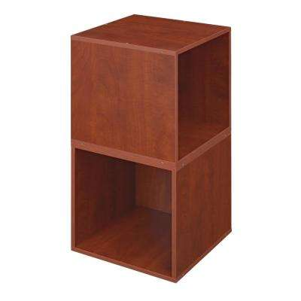 Cubo 13 in. x 13 in. Warm Cherry Modular 2-Cube Organizer