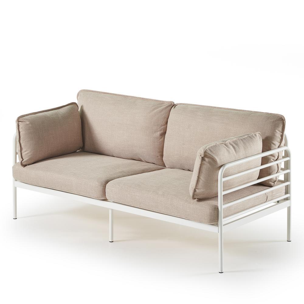 Ellen 3-Seat Beige Upholstered Sofa with Metal Frame