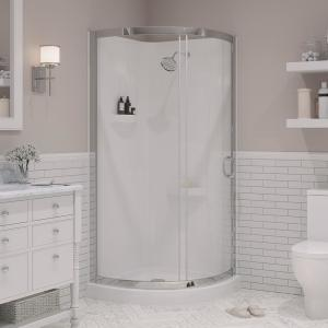 Breeze 34 in. L x 34 in. W x 76 in. H Corner Shower Kit with Reversible Sliding Door and Shower Base