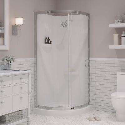Breeze 34 in. x 34 in. x 76 in. Shower Kit with Reversible Sliding Door and Shower Base