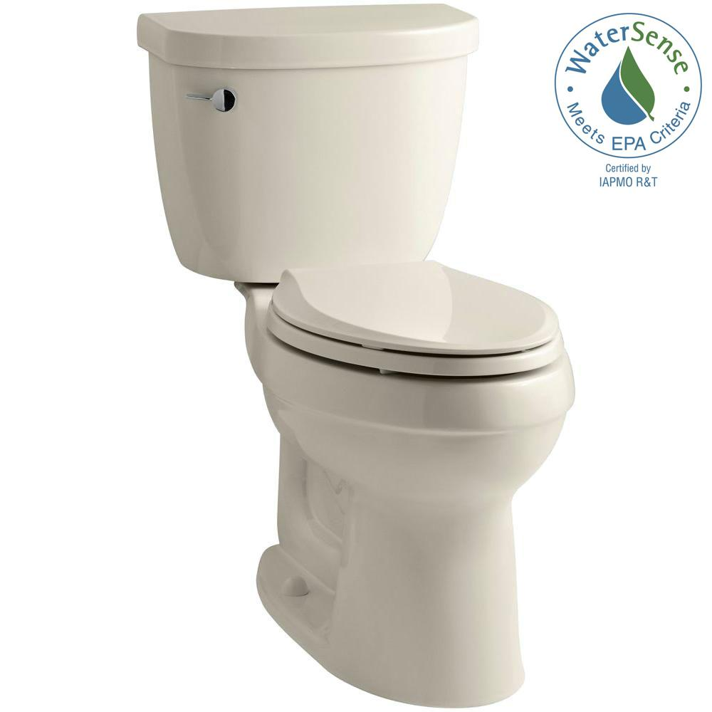 KOHLER Cimarron 2-piece 1.28 GPF High Efficiency Elongated Toilet with AquaPiston Flushing Technology in Almond