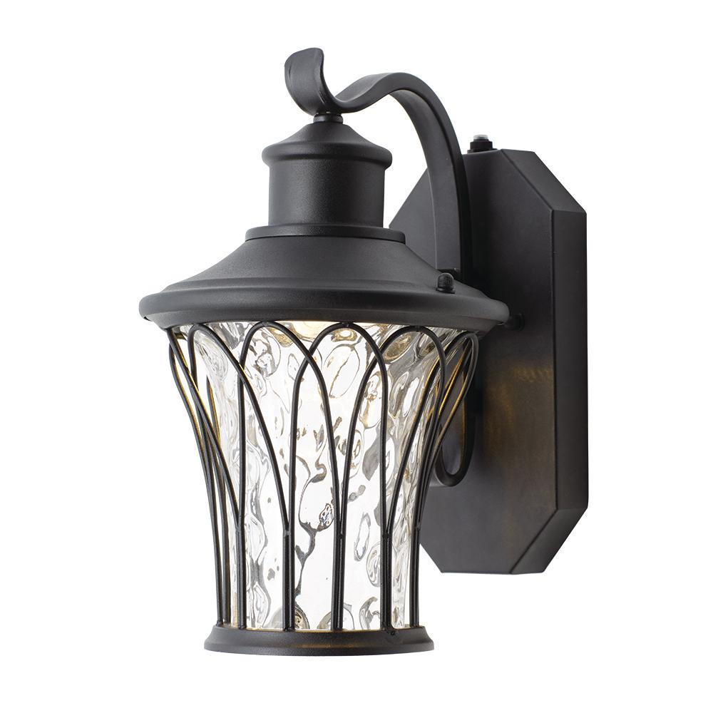 Home Decorators Collection Black Outdoor LED Dusk To Dawn Wall Lantern