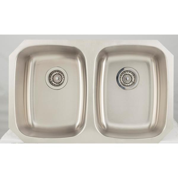 Undermount Stainless Steel 32 in. 50/50 Double Bowl Kitchen Sink in Chrome