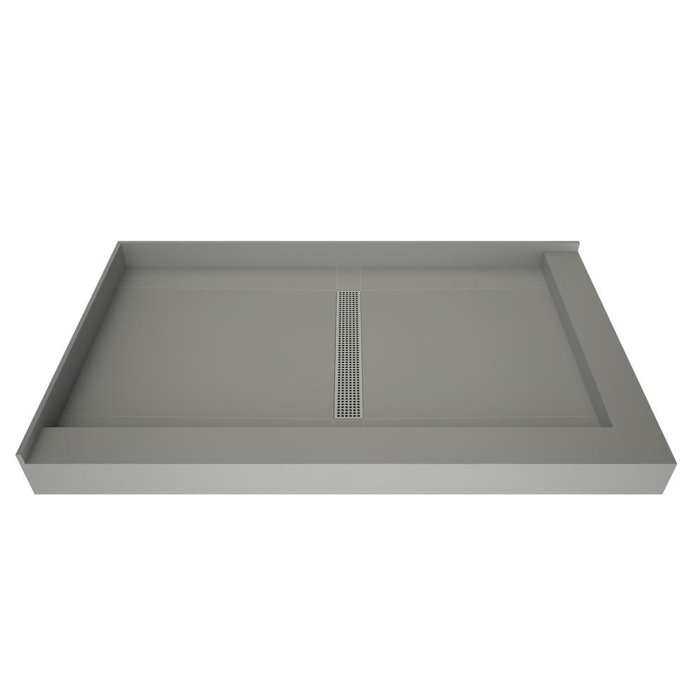 Tile Redi Redi Trench 36 in. x 48 in. Double Threshold Shower Base with Center Drain and Polished Chrome Trench Grate