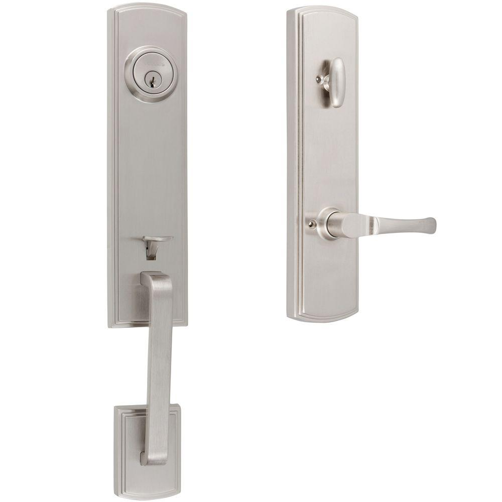 Italian Collection Briona Satin Nickel Dummy Door Handleset with Artino Interior