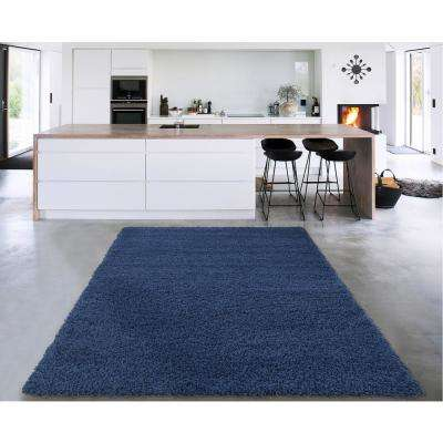 Cozy Shag Collection Navy Blue 7 ft. x 9 ft. Indoor Area Rug