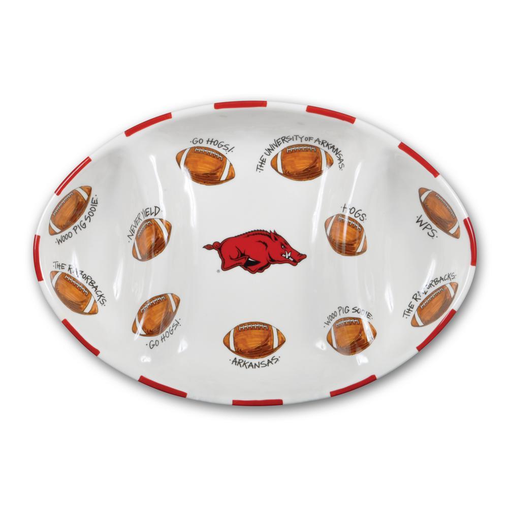 Arkansas Ceramic Football Tailgating Platter
