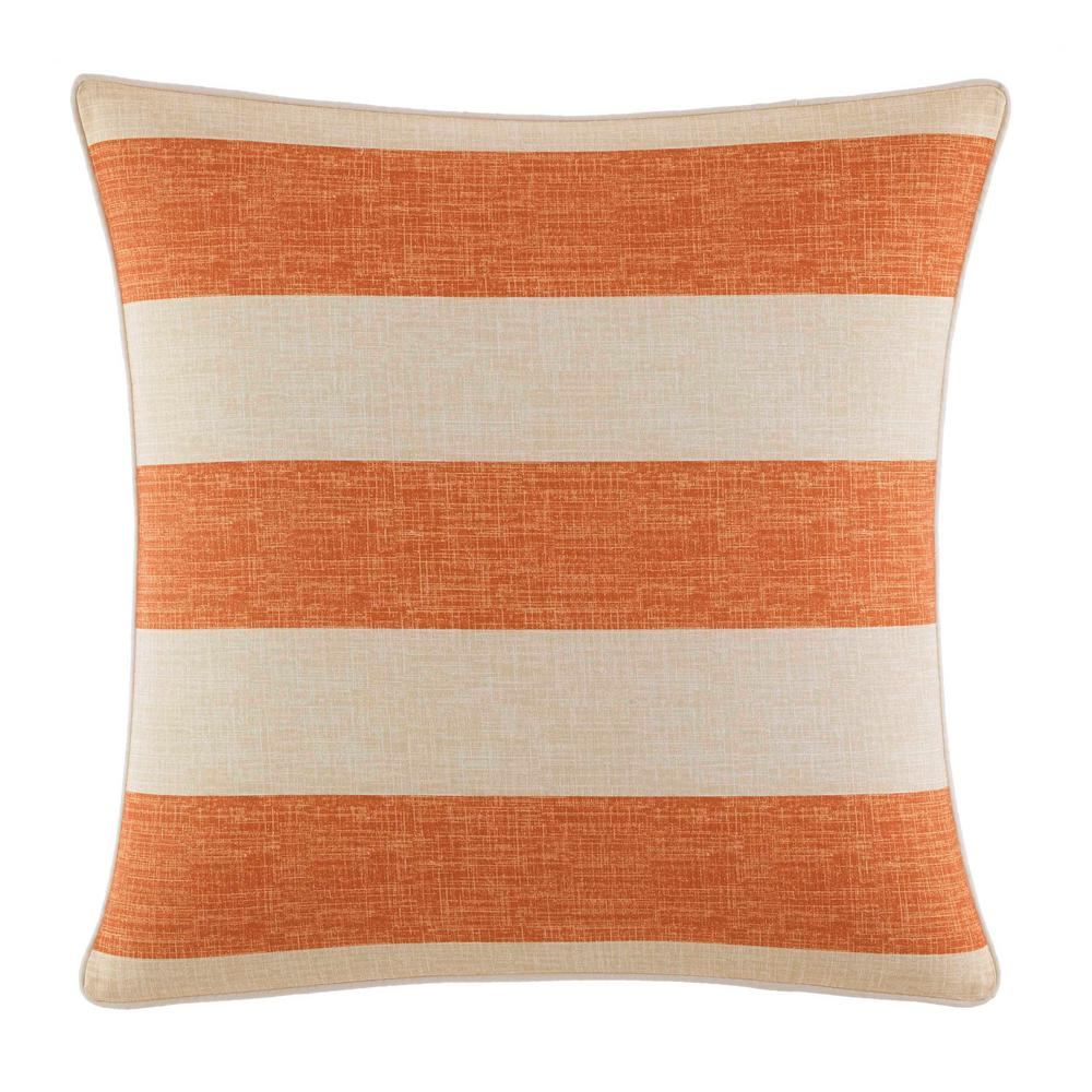 Palmiers Printed Stripe 18 in. x 18 in. Throw Pillow, Orange Embellish your bed with an accent of warm color with the Tommy Bahama Palmiers Square Throw Pillow. With a mellow apricot tone that gives off a smooth look, this square throw pillow will enhance the style of your bed and blend well with any decor. Dimensions: (18 in. x 18 in.). Color: Orange.
