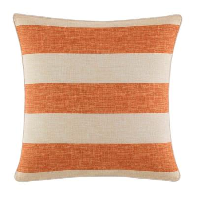 Tommy Bahama Palmiers Orange Striped Polyester 18 in. x 18 in. Throw Pillow