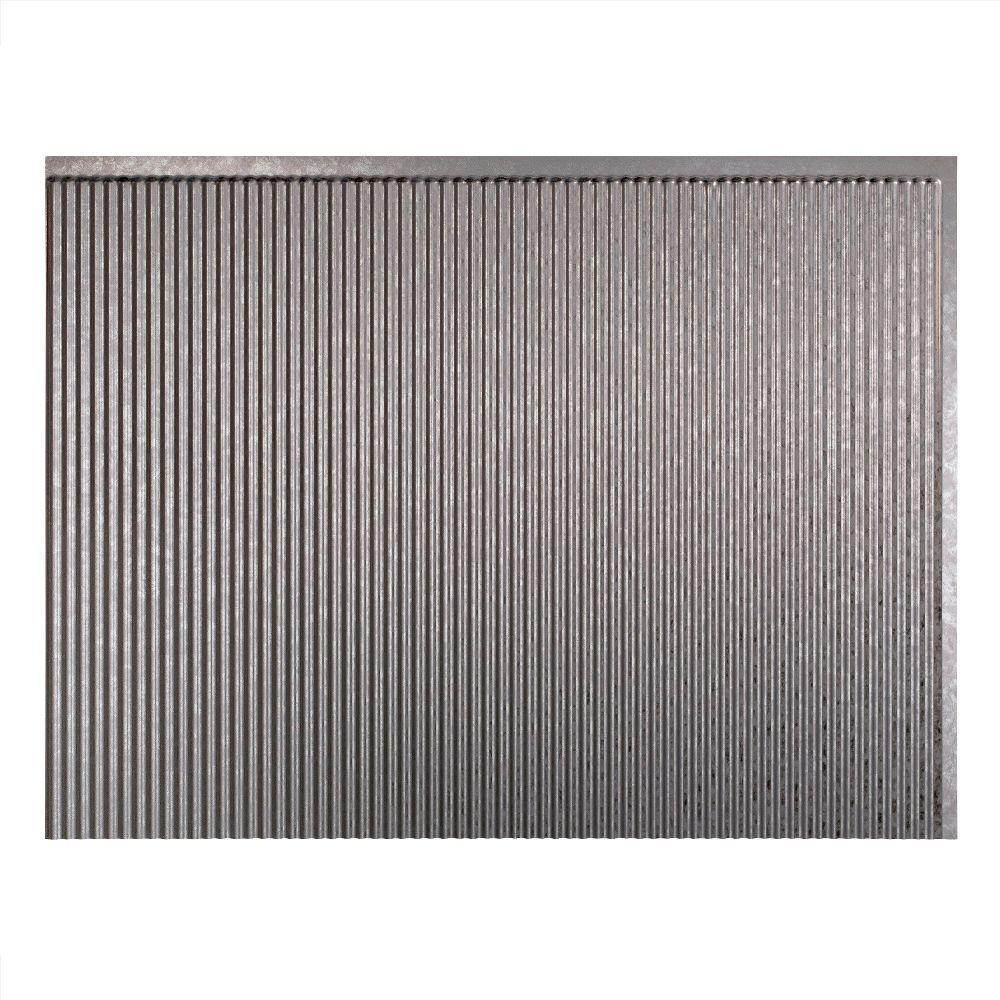 Rib 18 in. x 24 in. Galvanized Steel Vinyl Decorative Wall Tile Backsplash 18 sq. ft. Kit