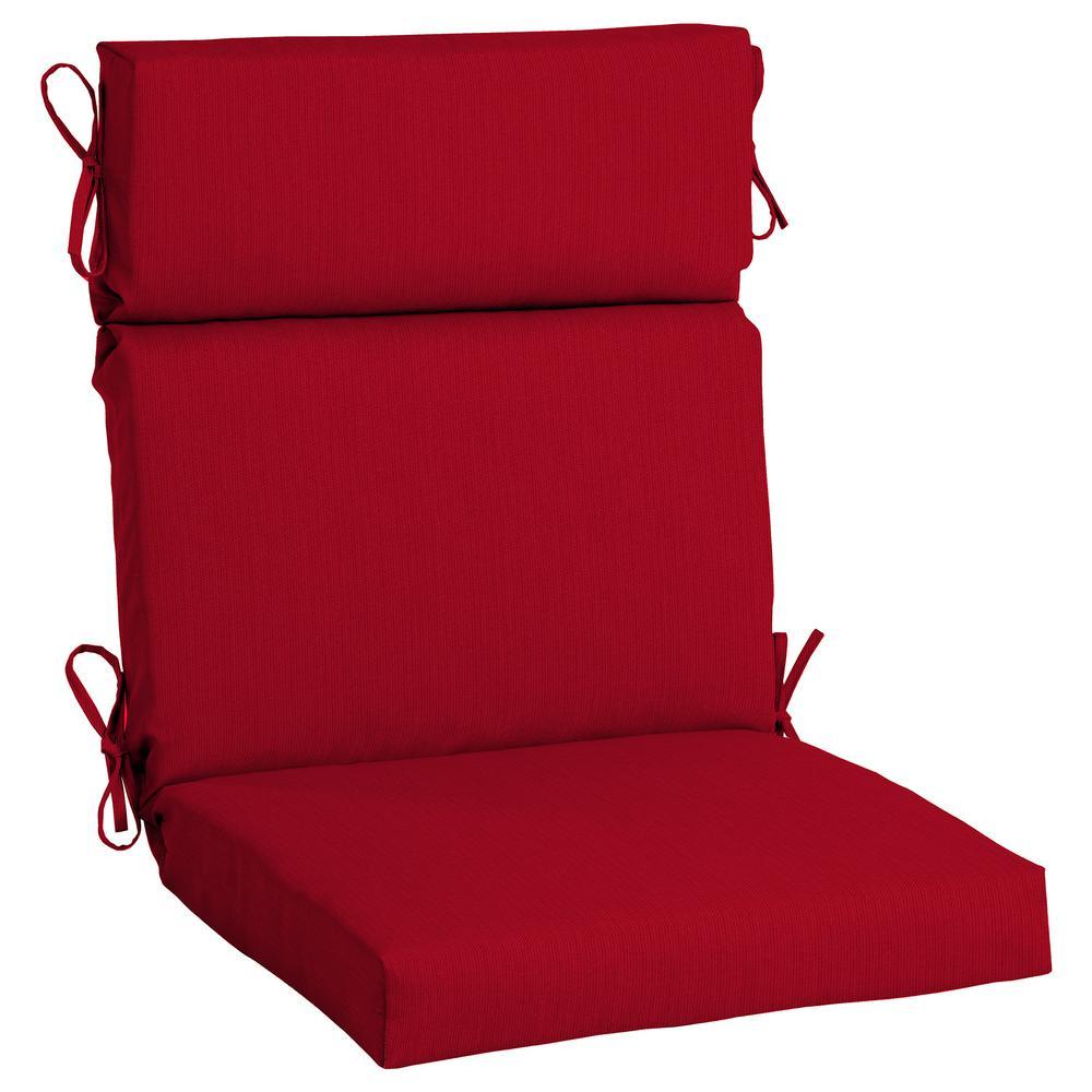 21.5 x 44 Sunbrella Spectrum Cherry High Back Outdoor Dining Chair Cushion