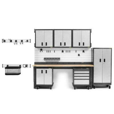 Premier Series 90 in. H x 126 in. W x 25 in. D Steel Garage Cabinet and Wall Storage System in Silver Tread (17-Piece)
