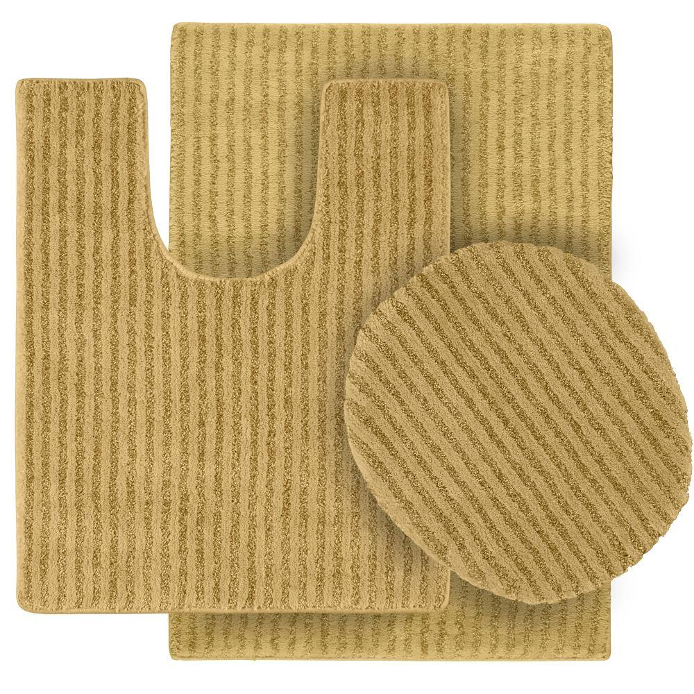 Sheridan Linen 21 in. x 34 in. Washable Bathroom 3-Piece Rug