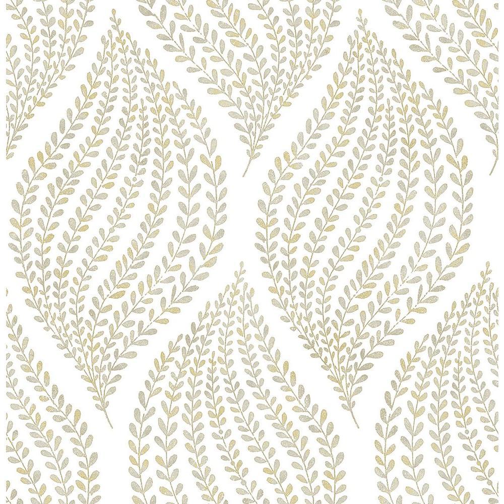 Arboretum Honey Leaves Wallpaper Sample