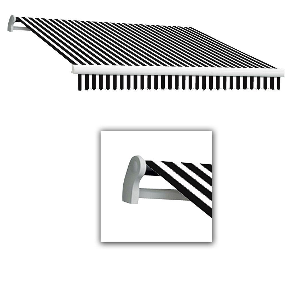 AWNTECH 14 ft. Maui-LX Left Motor Retractable Acrylic Awning with Remote (120 in. Projection) in Black/White